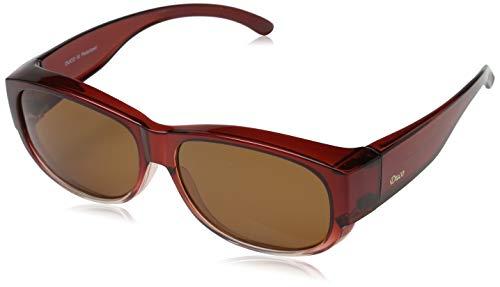 DUCO Unisex Korrekturbrille RX Brille polarisierte Sonnenbrillen Überziehbrille Fit-Over Brille 8956 (Wein rot Rahmen Braun Linse)