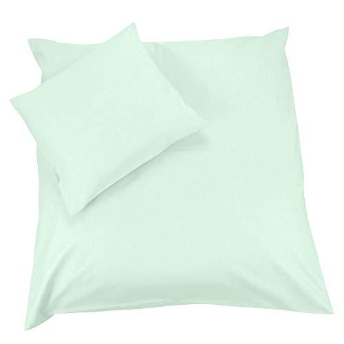 Sugarapple Babybettwäsche, 2 tlg. Set mit Deckenbezug 80x80 cm und Kissenbezug 40x35 cm, 100% Baumwolle, Uni mint