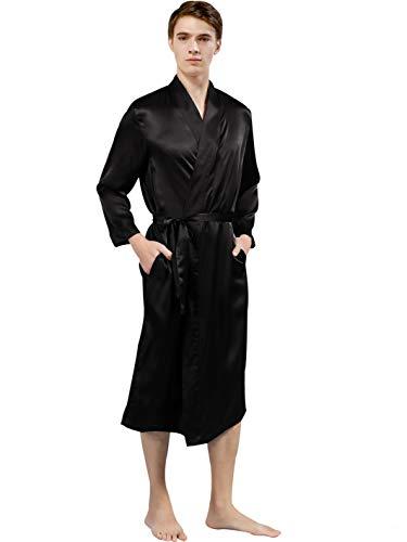 ElleSilk Herren Seiden-Morgenmantel langärmelig, Seide Robe Kimono mit Bindegürtel,Schwarz, M