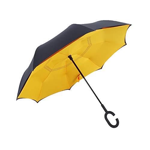 strimusimak Wasserdichter Griff Reverse langlebig Winddicht Regen Sonnenschirm Regenschirm Orange