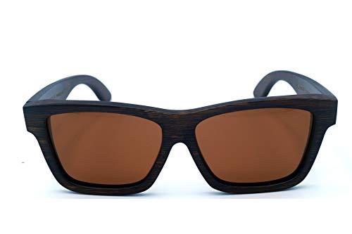 Echtholz Sonnenbrille in braunem Bambus und polarisierten braunen Gläsern