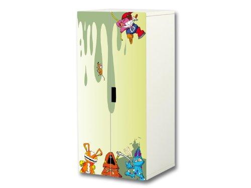 """""""Kleine Monster"""" Aufkleber-Set passend für den Kinderzimmer Schrank STUVA von IKEA (Korpus: 60 x 128 cm) – SC08"""