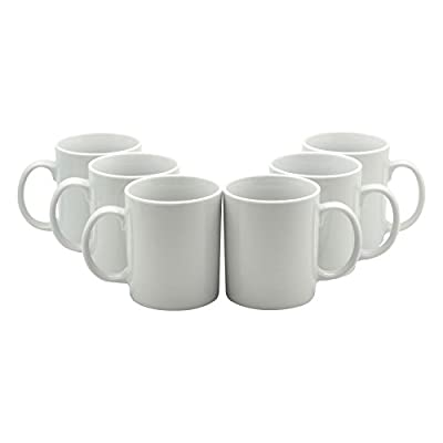 Box of 6 White Straight Sided Tea / Coffee Mugs - 285ml (10oz)