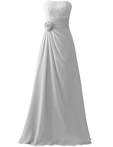 HUINI Damen Kleid Silber