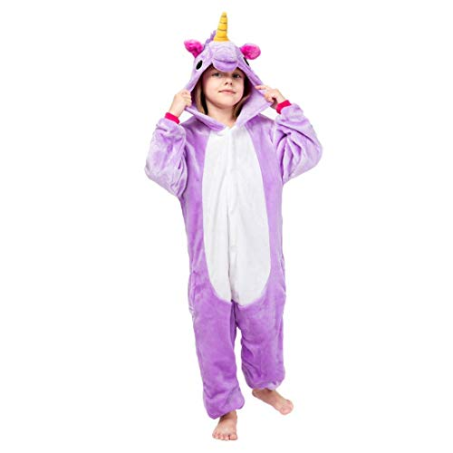 Unisex-Einhorn-Kinder-Strampler Verschiedene Designs-Pyjamas-Halloween-Cosplay-Kostüm Animal Home wear Onepiece Onesie (XL Alter 9-10 Jahre, Lila)
