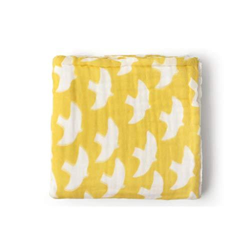 Infantile gaze de bain bébé serviette en coton bébé couverture absorbante douce deux couleurs 100 * 100 cm (Couleur : Le jaune)