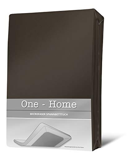 one-home Spannbettlaken braun 180×200 cm – 200×200 cm Microfaser Spannbetttuch