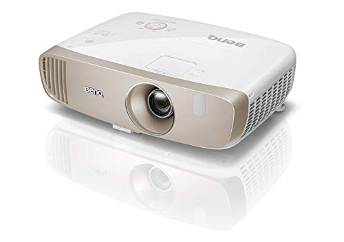 BenQ W2000 Proyector inalámbrico (1080P Full HD, DLP, 2000 lúmenes, relación de alto contraste 15000: 1,  bocina de 20 vatios, 3D, serie CinePrime), Blanco/Oro