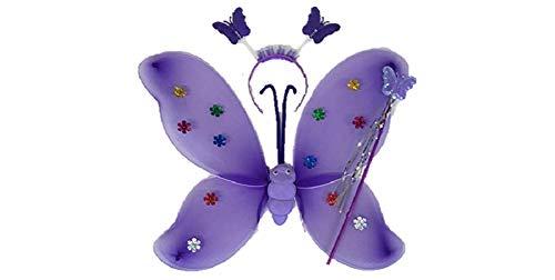 Magische Fee Flügel Stab Stirnband Fancy Dress up Kostüm Outfit (Doppelschicht, Lila)