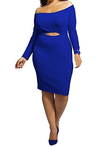 Femmes Encolure manches longues évider Plus Size Clubwear Robe moulante Midi Bleu