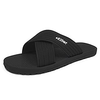 Kilter Men's Axis Cross Strap Slip-On Summer Sandal - Black - 43