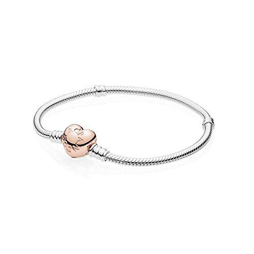 Pandora Damen Moments Schlangen-Gliederarmband mit Herz-Verschluss 925 Sterlingsilber Metalllegierung 580719-18