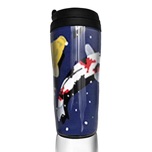 Travel Coffee Mug Snowy Pond Koi 12 Oz Spill Proof Flip Lid Water Bottle Environmental Protection Material ABS