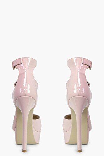 Damen Nackt Sofia Plateau-sandalen Mit Absatz Und Überkreuzten Riemchen Nackt