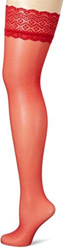 Fiore Damen Halterlose Strümpfe Celia/Obsession, 30 DEN, Rot, L (Herstellergröße:4)