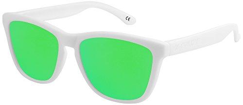 X-CRUZE® 9-024 X0 Nerd Sonnenbrillen polarisiert Style Stil Retro Vintage Retro Unisex Herren Damen Männer Frauen Brille Nerdbrille - weiß matt/grün verspiegelt