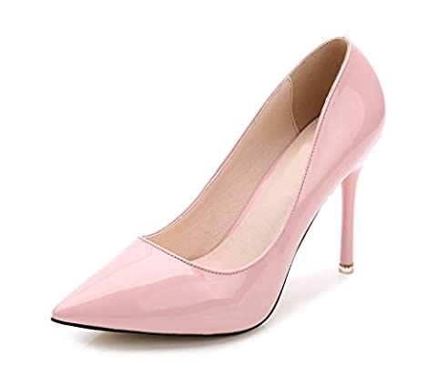 CAMSSOO Women's Elegant Pointed Toe Slip On Stiletto High Heel Party Dress Pumps Pink Patent PU UK4