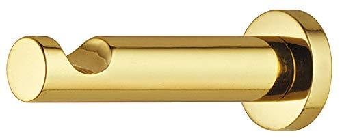 Gedotec Garderobenhaken rund mit Mulde Kleiderhaken Messing poliert - Modell H8999 | Tiefe: 55 mm | Wand-Haken unsichtbar verschraubt | 1 Stück - Mantelhaken mit Schrauben