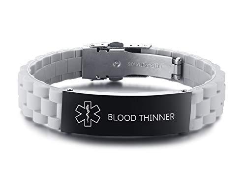 XUANPAI Edelstahl Grau Silikon Personalisierte Identifikation Medical Alert ID Tag Armband Für Männer Frauen Einstellbar Graviert mit Blood THINNER (Medical Alert)