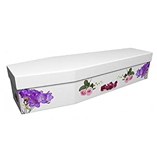 Quality Cardboard Picture Coffin / Casket - Suitable for Burial or Cremation - BEAUTIFUL ROSE & FREESIA - (Internal size… 7