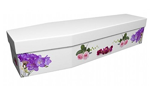 Quality Cardboard Picture Coffin / Casket - Suitable for Burial or Cremation - BEAUTIFUL ROSE & FREESIA - (Internal size… 1