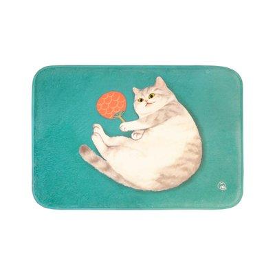 fussmatte originell MEWJI Originelle Fußmatte Schmutzfangmatte Rutschfest Teppich für Eingangsbereich Schlafzimmer Badezimmer und Haustier (40 x 60 x 1,5 cm), Stil: Britisch Kurzhaar Katze mit Fächer