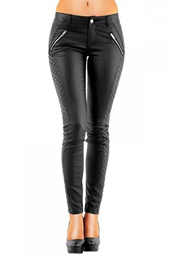 DANAEST Damen Kunstlederhose Röhre (163), Skinny Style, Gr. 42 XL, Schwarz