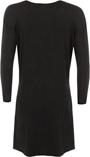 WearAll - Damen Übergröße langarm einfachen Cardigan öffnen Wasserfall Top - 9 Farben - Größe 44-52 Schwarz