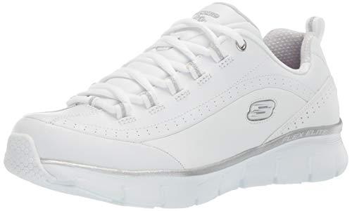 Skechers Damen Synergy 3.0 Sneaker, Weiß (White Leather/Silver Trim #Yellow WSL), 39 EU