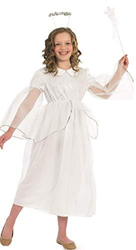 Fancy Me Mädchen Kinder Fee Engel Gabriel Weihnachten Krippenspiel Party Kostüm Outfit - Weiß, 4-6 Years (Kinder Kostüm Engel Gabriel)
