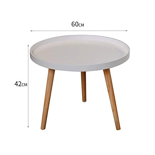 HYLH Side Tables,Tables Coffee Tables Round Side Tables Modern End Tables Occasional Tea Tables Nesting Tables for Balcony and Living Room Set (Color : 60cm Diameter White) -