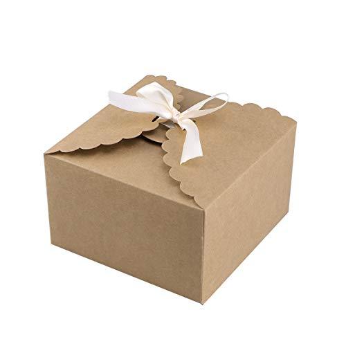 15 Stücke Papier Pralinenschachtel Einfarbig Geschenk Fall Behandelt Delicate Snack Goodies Pralinenschachteln Party Supplies (Kraft Farbe)
