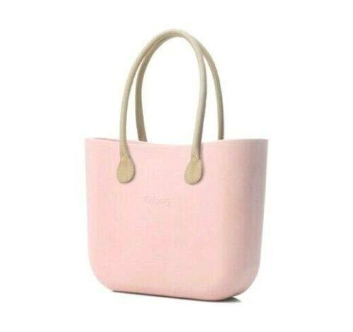 Borsa o bag grande cipria manico lungo beige e sacca