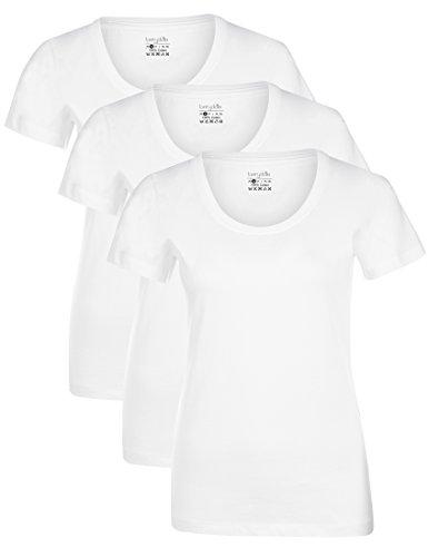 Berydale Damen T-Shirt für Sport & Freizeit, Rundhalsausschnitt 3er Pack Weiß, M