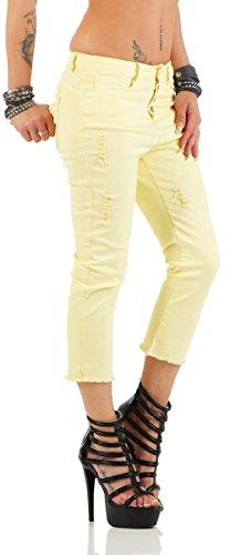 3865 Fashion4Young Damen Caprihose Capri Hose Sommer Hose Pants 10-gelb
