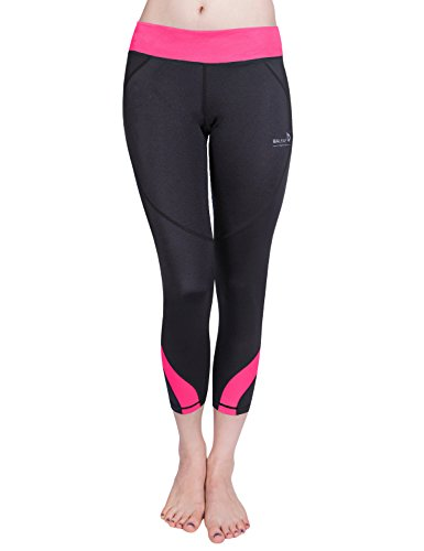 Baleaf Damen Fitness Workout Laufhose Running Capri Leggings mit Quick-Dry-Funktion Rosa Größe L