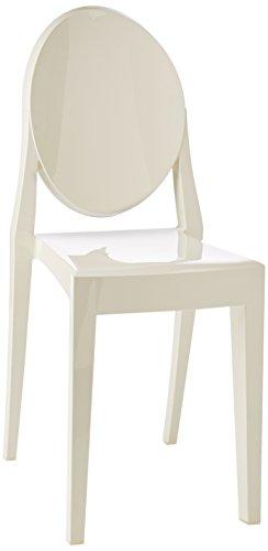 Kartell 4857/e5 victoria ghost sedia, 39 x 91 x 50 cm, set di 2, bianco lucido
