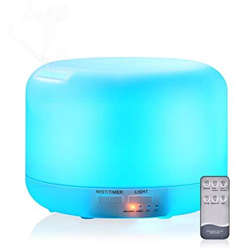 Wascoo Ultraschall Aromatherapy Luftbefeuchter mit Fernbedienung, Diffusor ätherisches Öl 300ml mit 7 Farben LED für Zuhause, Büro, SPA, Baby Lichttherapie