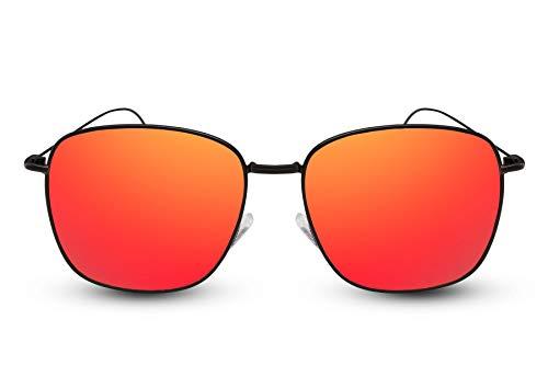Cheapass Sonnenbrille Herren Schwarz Rot-Gold Verspiegelt UV400 Sport Metall Männer