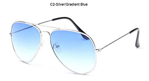 Flyasyanjing Fashion Pilot Sonnenbrille Männer Jahrgang Brand Design Sonnenbrille Silver Frame Farbverlauf Blau Transparent Ozean Linsen Designer Helle Und Komfortable Sommer Uv400