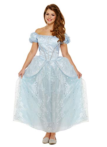 Kostüm Storybook Belle - Emmas Garderobe Blaue Prinzessin-Kleid-Kostüm - Mit Langen blauen Sternenkleid - Frauen Märchen Halloween-Kostüm - Made UK Größen 8-16 (Women: 38, Blue)