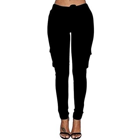 LAEMILIA Femme Pantalons Jeans Sexy Taille Haute Slim Legging Cordon Poche Crayon Casual Pantalons (FR40/42=Tag XL, Noir)