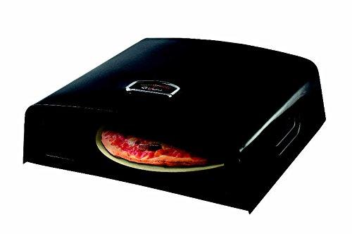 Tepro Pizza Box Pizzastein aus Cordierit Thermometer schwarz emaillierte Haube