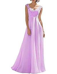 4042f80625d Laisla fashion Vestido De Novia De Gasa con Encaje Clásico Simplemente  Traeger para Mujer Vestido De