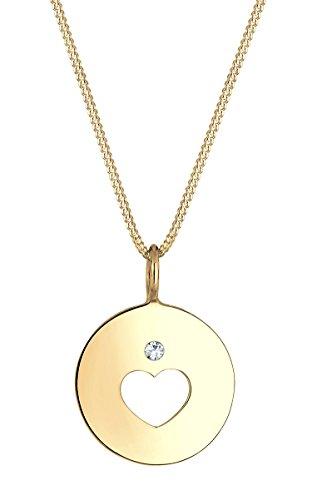 Elli Halskette Herz Münze Swarovski Kristalle 925 Silber 0101720317 -