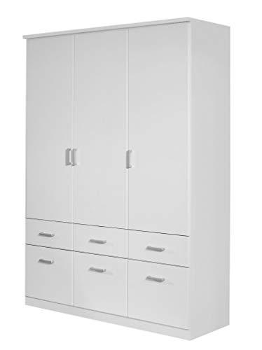 Rauch Kleiderschrank 3-türig Weiß Alpin mit Schubladen, BxHxT 136x199x56 cm