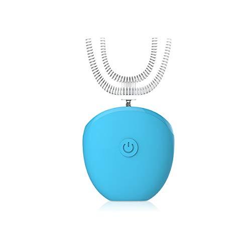 WFHhsxfh Automatische elektrische Faule Zahnbürste nach Hause Aufladen Ultraschall Beauty Instrument U-förmige Hosenträger Paar Modelle elektrische Zahnbürste (Color : Blue)