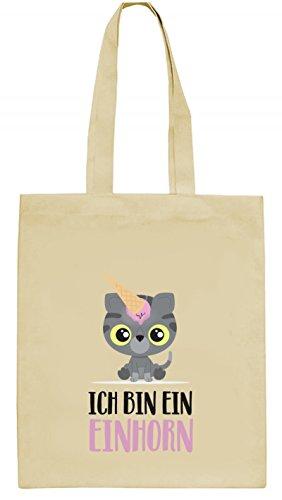 ShirtStreet süße Geschenkidee Kätzchen Unicorn Eis Ice Cream natur Jutebeutel Stoffbeutel Tote Bag Katze - Ich bin ein Einhorn, Größe: onesize,natur (Kätzchen Bag Tote)