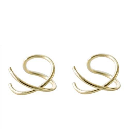 HOMEYU® 925 Sterling Silver Double Ear Cuff y Criss Cross Ear Ear No Tiene Piercing Pendiente de cartílago Falso