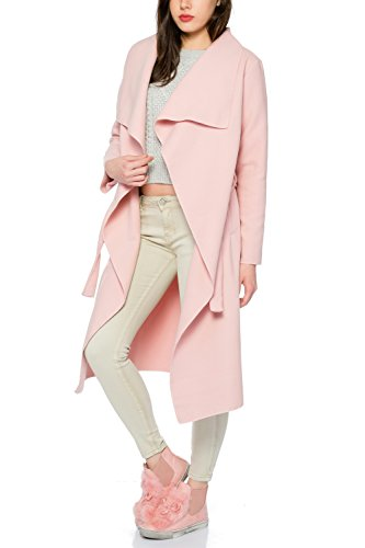 Kendindza Damen Mantel Trenchcoat mit Gürtel OneSize Lang und Kurz (One Size, Rosa Lang) (Rosa Damen Jacke)